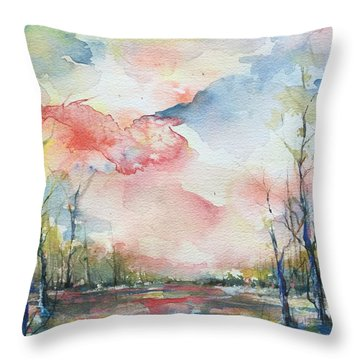 Sunsets Grace On The River Throw Pillow