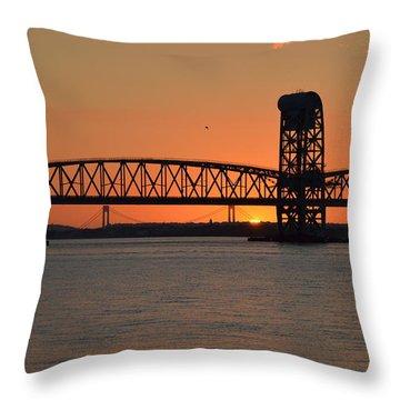 Throw Pillow featuring the photograph Sunset's Last Light Bridges Over Jamaica Bay by Maureen E Ritter
