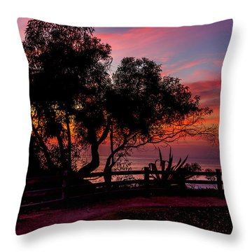Sunset Silhouettes From Palisades Park Throw Pillow