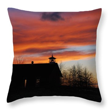 Sunsetting Behind The Historic Schoolhouse. Throw Pillow