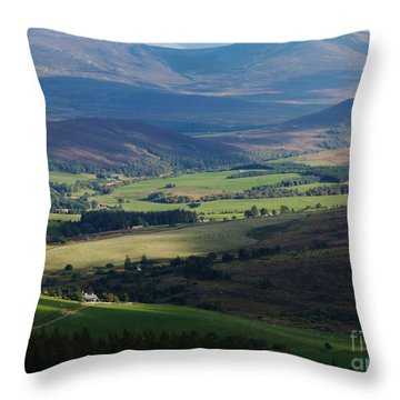 Sunshine And Shadow - Braes Of Glenlivet Throw Pillow
