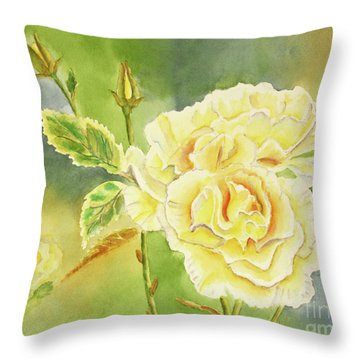 Sunshine And Yellow Roses Throw Pillow by Kathryn Duncan