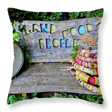 Throw Pillow featuring the painting Sunshine Bench by Joan Reese