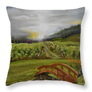 Sunshine Bridge At The Cartecay Vineyard - Ellijay Ga - Vintner's Choice Throw Pillow