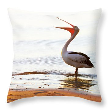Sunshine Coast Pelican Throw Pillow