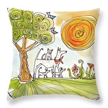 Sunshine Dogs Throw Pillow by Linda Kay Thomas
