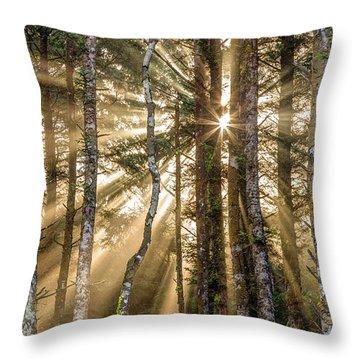 Sunshine Forest Throw Pillow