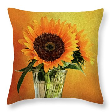 Sunshine In A Vase Throw Pillow by Diane Schuster