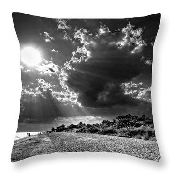 Throw Pillow featuring the photograph Sunshine On Sanibel Island In Black And White by Chrystal Mimbs