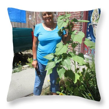 Sunshiny Hello From Marie Throw Pillow