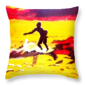 Sunsplashed Surf Throw Pillow