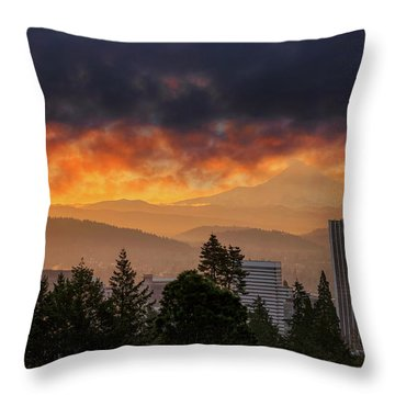 Sunsrise Over City Of Portland And Mount Hood Throw Pillow by David Gn