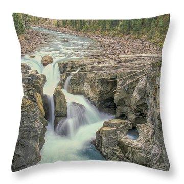 Throw Pillow featuring the photograph Sunwapta Falls 2006 01 by Jim Dollar