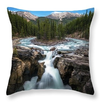 Sunwapta Falls In Jasper National Park Throw Pillow