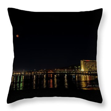 Super Blue Blood Moon Over Ventura, California Pier  Throw Pillow