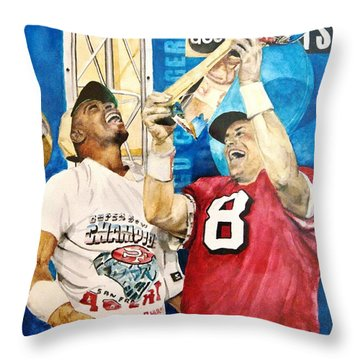 Throw Pillow featuring the painting Super Bowl Legends by Lance Gebhardt
