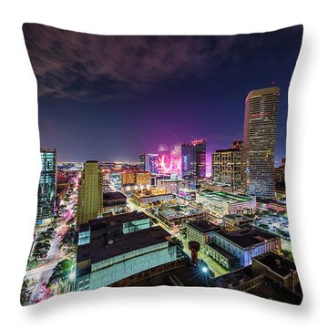 Super Bowl Li Down Town Houston Fireworks Throw Pillow by Micah Goff