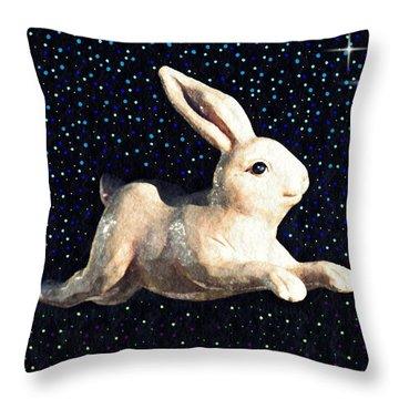 Super Bunny Throw Pillow by Sarah Loft