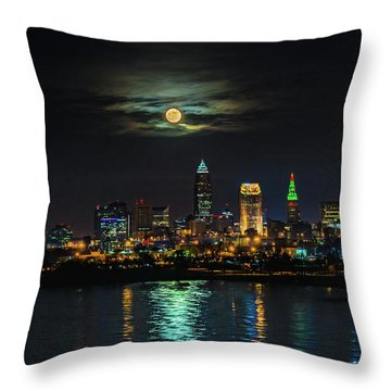 Super Full Moon Over Cleveland Throw Pillow