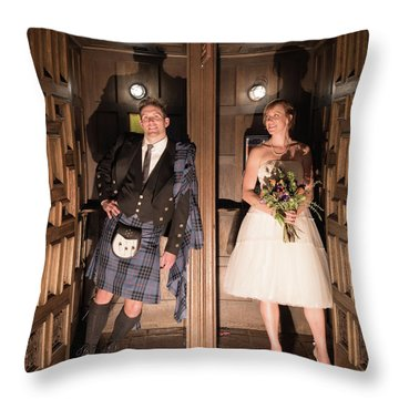 Super Hero Wedding Pose Throw Pillow