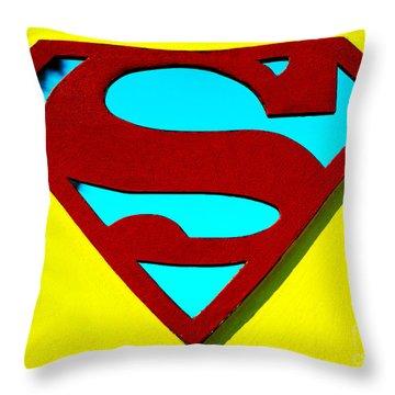 Super Man Throw Pillow by Micah May
