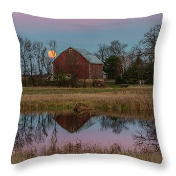 Super Moon And Barn Series #1 Throw Pillow