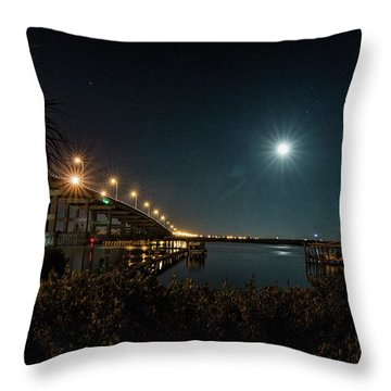 Super Moon And Bridge Lights Throw Pillow
