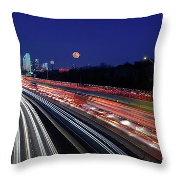 Super Moon And Dallas Texas Skyline Throw Pillow