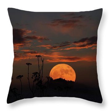 Super Moon And Silhouettes Throw Pillow