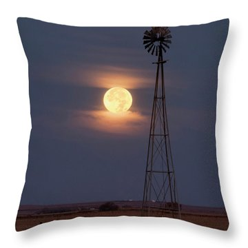 Super Moon And Windmill Throw Pillow by Rob Graham