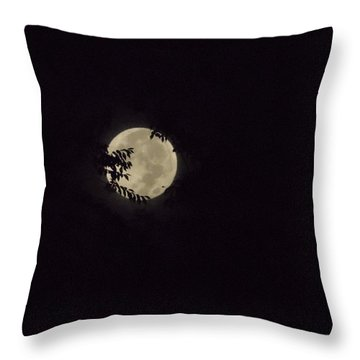 Throw Pillow featuring the photograph Super Moon At Dawn by Deborah Moen