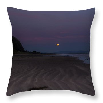 Super Moon At Downhill Beach Throw Pillow