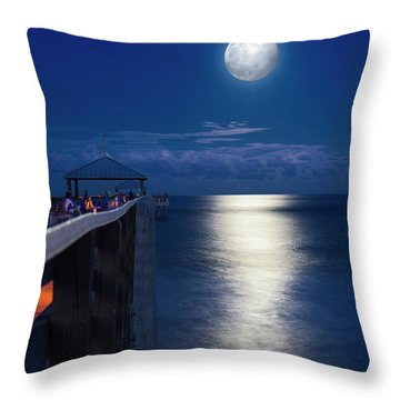 Throw Pillow featuring the photograph Super Moon At Juno by Laura Fasulo