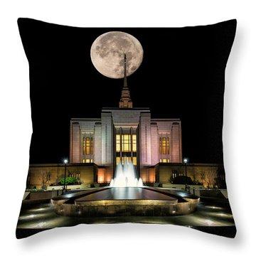 Super Moon At Ogden Lds Temple Throw Pillow