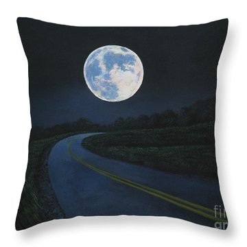 Super Moon At The End Of The Road Throw Pillow