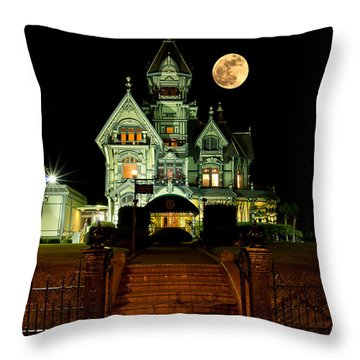 Super Moon Over Carson Mansion Throw Pillow