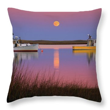 Super Moon Over Nauset Beach Cape Cod National Seashore Throw Pillow by Dapixara Art