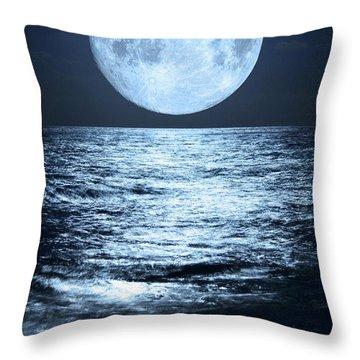 Super Moon Over Ocean Throw Pillow