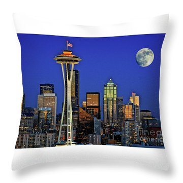 Super Moon Over Seattle Throw Pillow