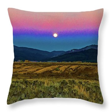 Super Moon Over Taos Throw Pillow