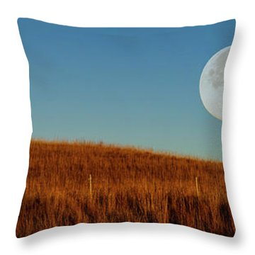 Super Moon Over The Prairie Throw Pillow