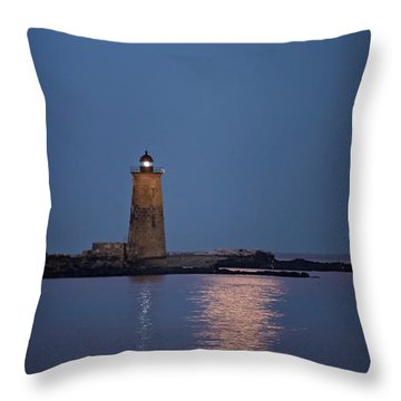 Super Moon Over Whaleback Lighthouse Throw Pillow