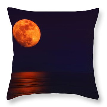 Super Moon Rising Over Water Throw Pillow by Charline Xia