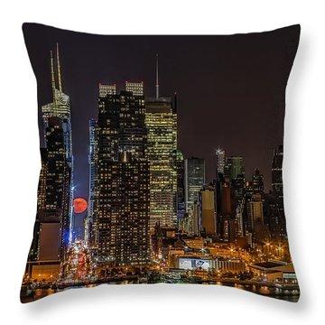 Super Moon Rising Throw Pillow by Susan Candelario