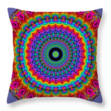 Super Rainbow Mandala Throw Pillow