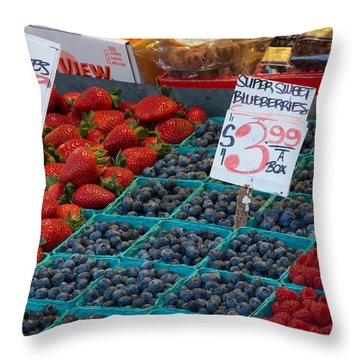 Super Sweet Blueberries Throw Pillow