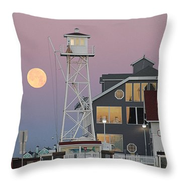 Super Wolf Moon At The Watch Tower Throw Pillow