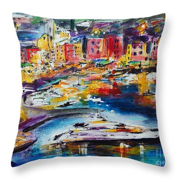Evening In Portofino Italy Super Yacht Travel Throw Pillow
