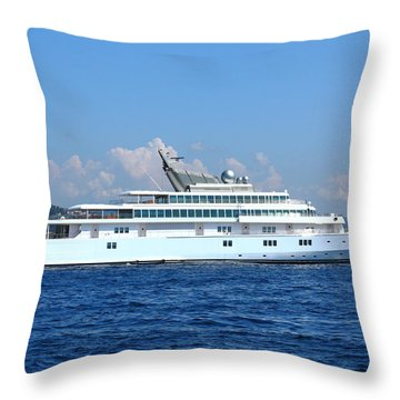 Throw Pillow featuring the photograph Super Yacht by Richard Patmore