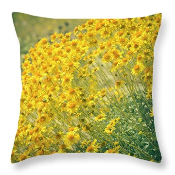 Superbloom Golden Yellow Throw Pillow